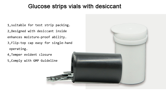 Glucose strips vials with desiccant