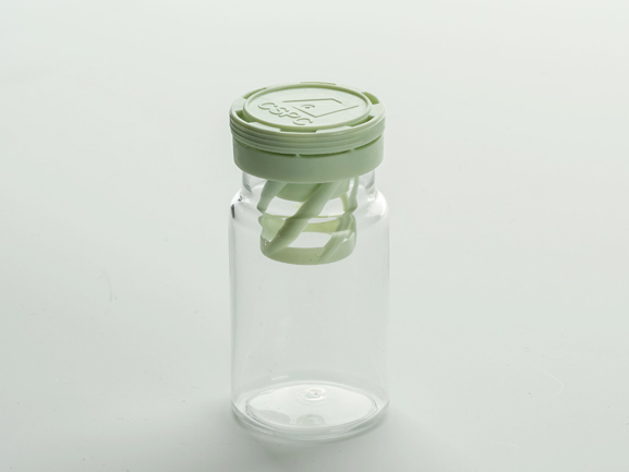 Transparent PET bottle with desiccant spiral cap T010