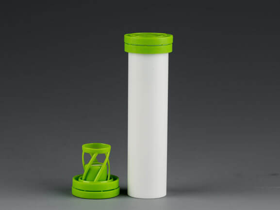 Fizz tablet tube with desiccant cap